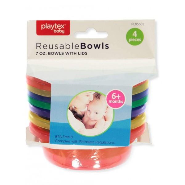 Playtex Reusable Bowls 4 Bowls 4 Lids