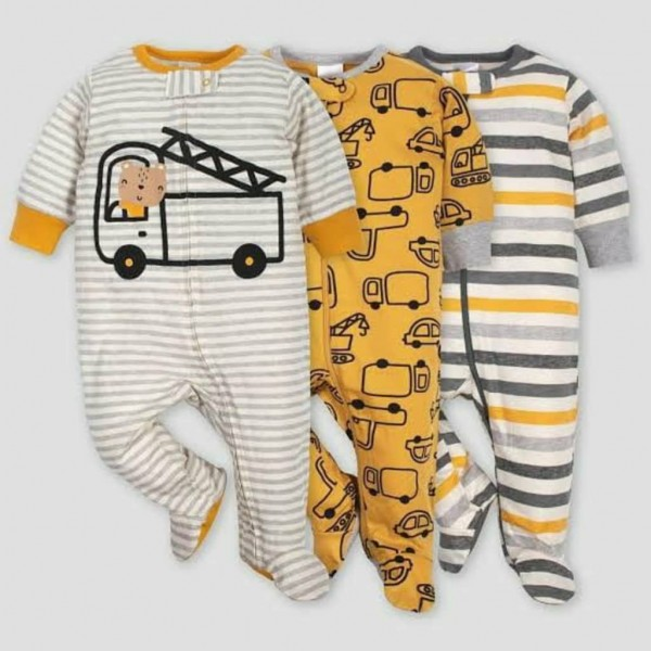 Gerber Baby Boys' 3pk Footed Vehicle Sleep N' Play – Gold/Gray