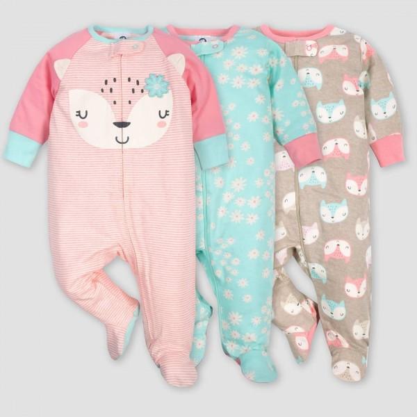 Gerber Baby Girls' 3pk Footed Fox Sleep N' Play – Coral/Green/Light Brown