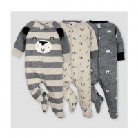 Baby Boy 3 pack Cotton Soft Sleep n Playsuit In Bear Design