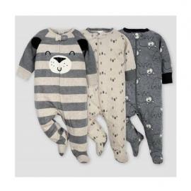 Baby Boy 3 pack Cotton Soft Sleep n Playsuit In Bear Design