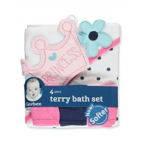 Gerber Crowned Princess Terry 4-Piece Bath Set
