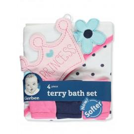 Gerber Crowned Princess Terry 4-Piece Bath Set
