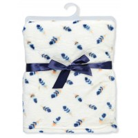 Zac & Zoey Plush Blanket - Ivory/Navy