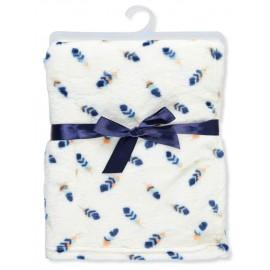 Zac & Zoey Plush Blanket - Ivory/Navy