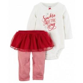 2-Piece Christmas Bodysuit & Tutu Pant Set